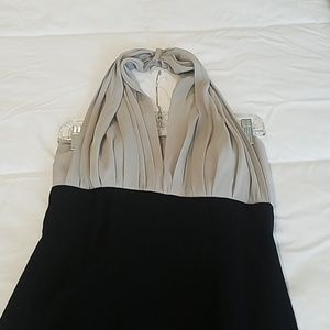 Formal black and silver evening gown.